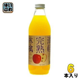 Sterling foods Tsugaru ripe apple juice white label 1 L bottles of 6 pieces [Apple Apple Apple juice.