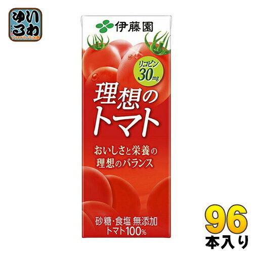 伊藤園 理想のトマト 200ml 紙パック 24本入×4 まとめ買い (野菜ジュース)〔トマトジュース 野菜ジュース とまとジュース 砂糖・食塩不使用 完熟トマト リコピン トマト100% 理想のとまと〕