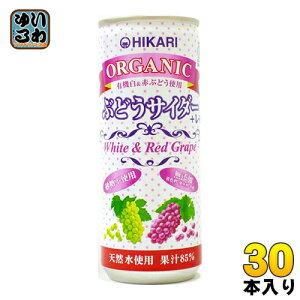 光食品 オーガニック ぶどうサイダー+レモン 250ml 缶 30本入〔炭酸飲料〕