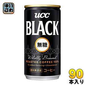 UCC ブラック無糖 185g 缶 90本 (30本入×3 まとめ買い)〔ノンシュガー ノンカロリー〕