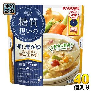 カゴメ 糖質想いの 押し麦がゆ 彩り野菜と旨み玉ねぎ 250g パウチ 40個 (10個入×4 まとめ買い)