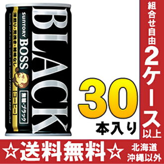 Suntory BOSS boss unsweetened black 185 g cans 30 pieces [BLACK sugar-free, black coffee coffee coffee]