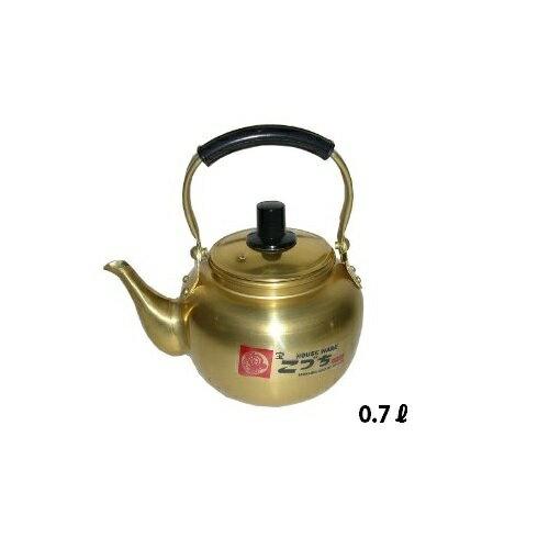 昔なつかし こづち瓶 アルマイト やかん 0.7L 前川金属小型 湯沸し アルミ 硫酸アルマイト レトロ 昔ながら 金色 ゴールド ケトル ケットル 0.7リットル 小さい 業務用 家庭用