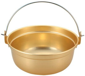 前川金属 段付鍋 ツル付 36cm アルマイト 鍋 取手 金色 ゴールド 昔ながら 懐かしい レトロ
