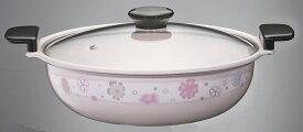 【日本製】 ホーロー あじわい鍋 ほのか 27cm HA-HN27 IH対応 高木金属 土鍋風鍋 冬 ピンク IH 100V 200V 対応 軽い 割れない 味わい鍋