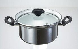 オニキスシリーズ ホーロー 両手鍋 20cm ON-20R 高木金属 IH対応ガラス蓋 鍋 両手 光沢 綺麗 きれい ブラック オニキス カラー