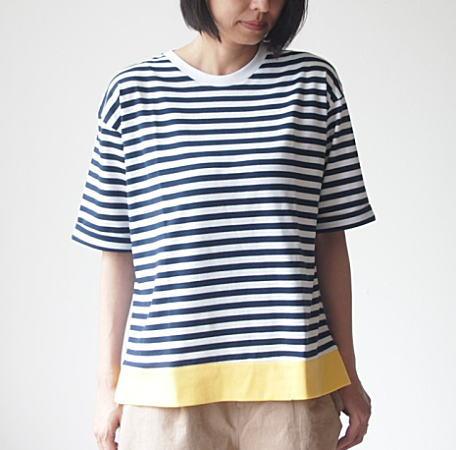 Lilou&Lily(リロウアンドリリー)40/2ボーダービッグTシャツ