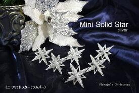 クリスマス オーナメント ミニソリッドスター(シルバー)6個入【飾り 装飾 CHRISTMAS X'mas ornament クリスマスオーナメント】