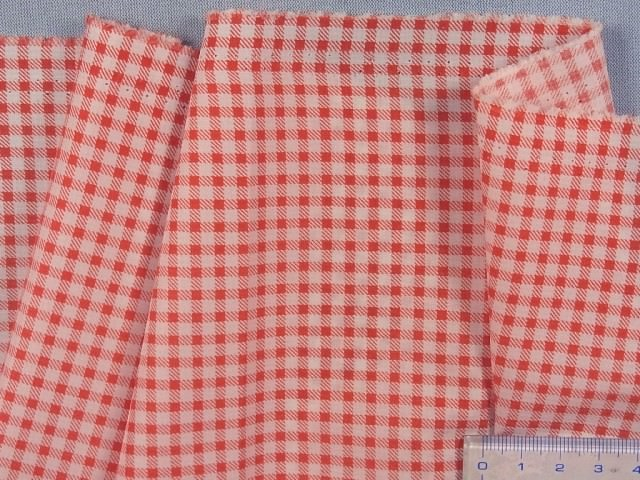 在庫処分・大幅値下げ撥水加工生地(チェック)赤×白