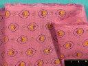在庫処分・大幅値下げ綿麻プリント生地小花・赤紫×イエロー