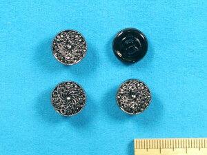 チェコガラスボタン(13mm)黒×銀