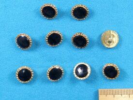 プラメタルボタン(11mm)金×黒