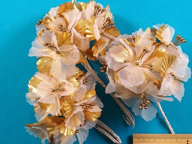 アートフラワー(造花)オフ白×金系