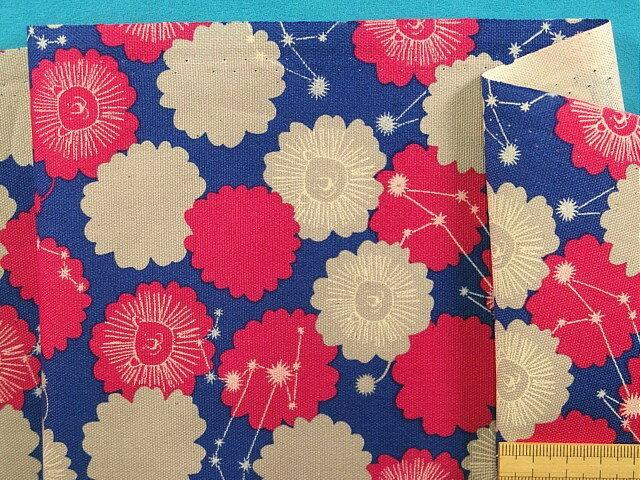 綿プリントオックス生地星座(獅子座)青紫×濃ピンク