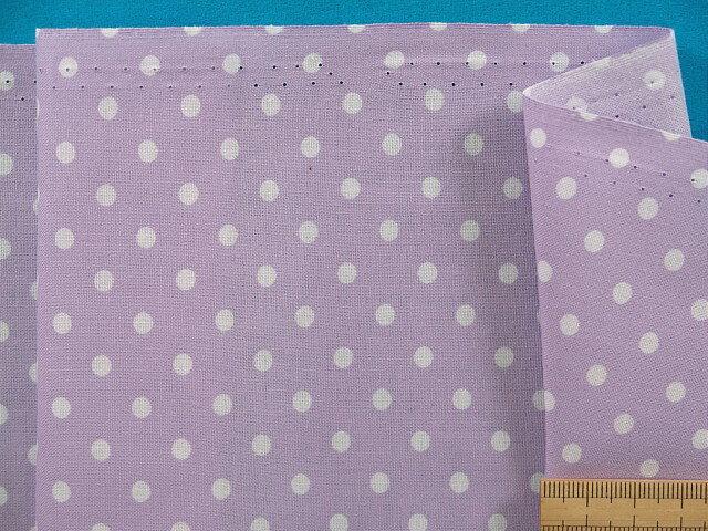 綿プリント生地・水玉薄紫×白