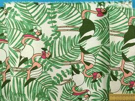 綿アムンゼン生地フラミンゴ・オフ白×グリン