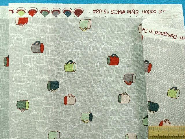 綿プリント生地(STOF fabrics)マグカップグレー×オフ白