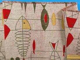 綿プリントネップ生地(やや厚)さかな・赤系(135cm幅 1.5m)