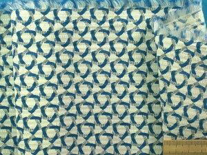 綿サッカー生地オフ白×ブルー(150cm幅 1.5m)