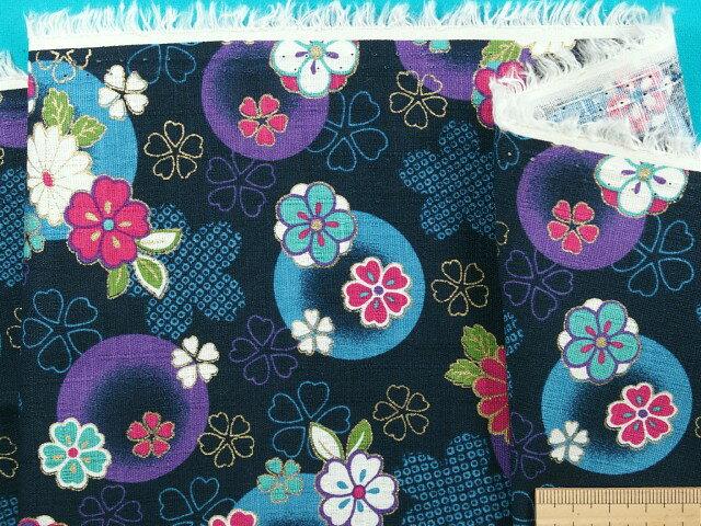 綿和柄プリント生地(サザンクロス)花紺×紫×金ラメ