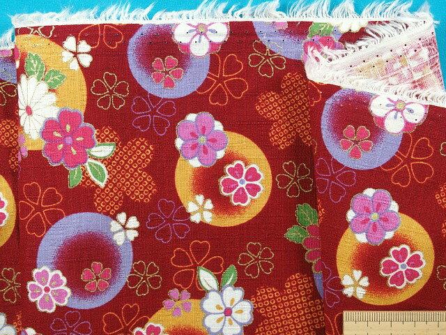 綿和柄プリント生地(サザンクロス)花濃赤×山吹×金ラメ