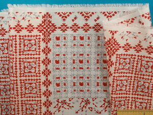 綿ローンプリント生地オフ白×赤(105cm幅 2m)