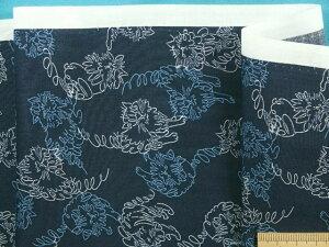 綿ローンプリント生地ネコ・紺×オフ白(110cm幅 2m)