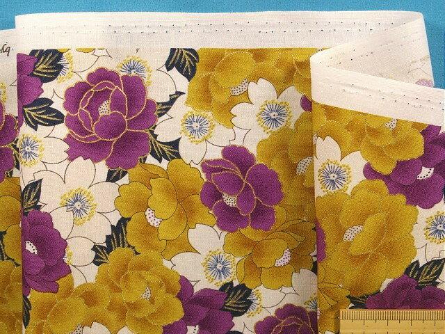 綿和柄プリント生地花・オフ白×紫×金ラメ