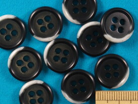 プラボタン(15mm)黒×オフ白