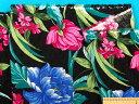 綿サッカー生地花・黒×濃ピンク