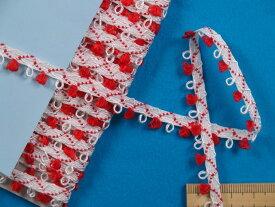 ピコテープ白×赤(1.0cm幅 10m巻)