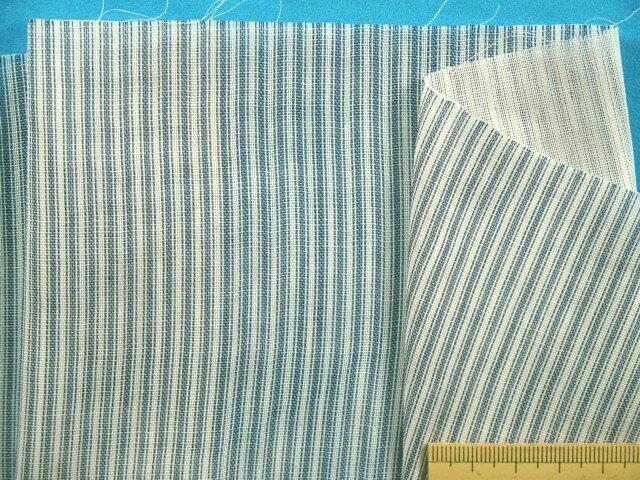 綿ダブルガーゼ生地ストライプ・オフ白×紺