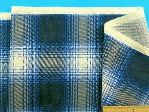 綿パナマプリントチェック生地紺×オフ白(110cm幅 2m)