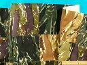 在庫処分・大幅値下げ綿中厚パッチワーク生地迷彩・グリン系×黒(110cm幅 2m)