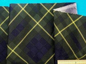 プリント接着芯(やや薄手)チェック・グリン×紺紫(110cm幅 2mカット)