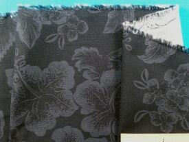 綿レーヨンプリント生地ハイビスカス・黒系×グレー(120cm幅 2m)