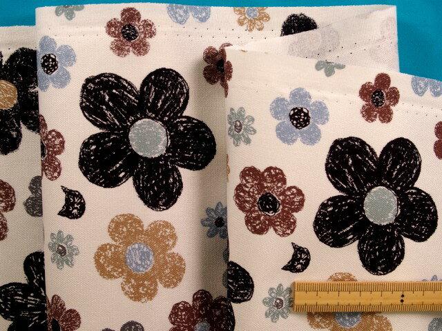 綿プリントオックス生地花とネコオフ白×茶