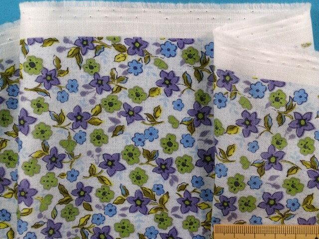 綿ダブルガーゼ生地小花・水×紫