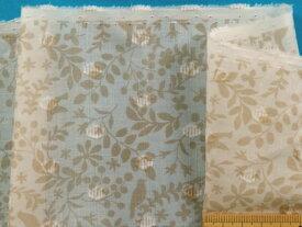 綿ローンプリント生地草花/トリオフ白×薄ベージュ(105cm幅 2m)