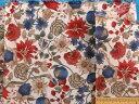 綿ローンプリント生地花・オフ白×赤×ブルー