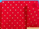 綿プリント生地クリスマス/星赤×金(105cm幅 2m)