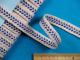 麻テープ(ヘリンボン柄)ブルー(1.0cm幅 5m巻)