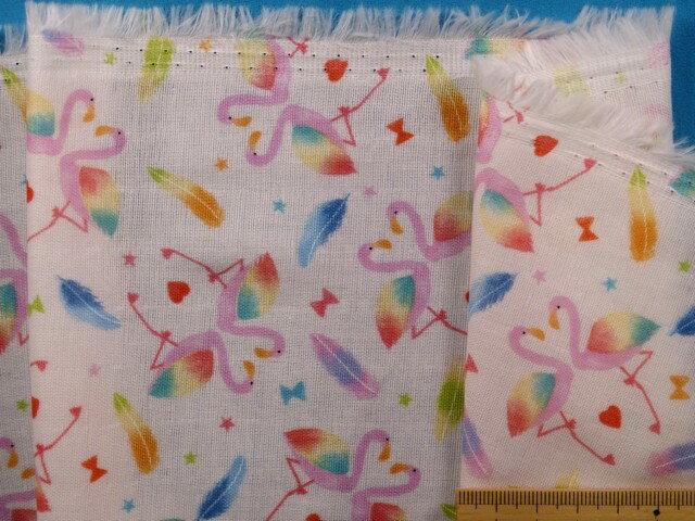 綿ダブルガーゼ生地フラミンゴ・オフ白×ピンク