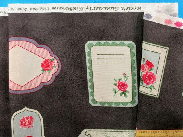 綿プリント生地(STOF fabrics)メッセージカード(バラ)濃グレー×濃ピンク