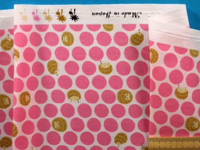 綿プリント生地水玉/ハリネズミオフ白×ピンク