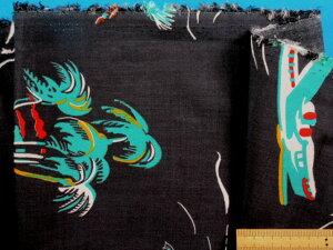 綿レーヨンローンプリント生地ビーチ・黒(120cm幅 2m)