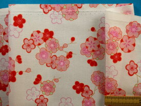 綿和柄アムンゼン生地花・オフ白×ピンク