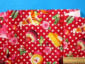 綿プリント生地(やや厚)ドット/スウィーツ赤×ピンク(110cm幅 2m)