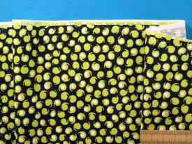 USAコットン生地黒×イエロー(105cm幅 1m)