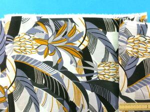 綿ローンプリント生地パイナップルオフ白×オレンジ(105cm幅 2m)